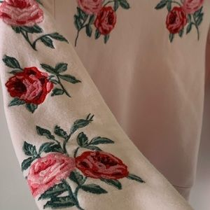 H&M Rose Embroidered Pink Sweater